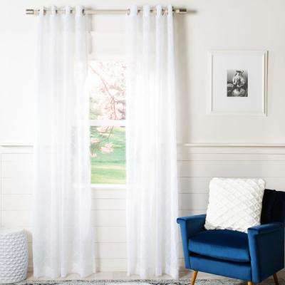 Gracie White Semi-Sheer Window Panel 52 in. W x 84 in. L