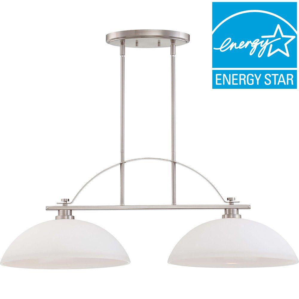 2-Light Brushed Nickel Island Pendant with Frosted Glass Shade