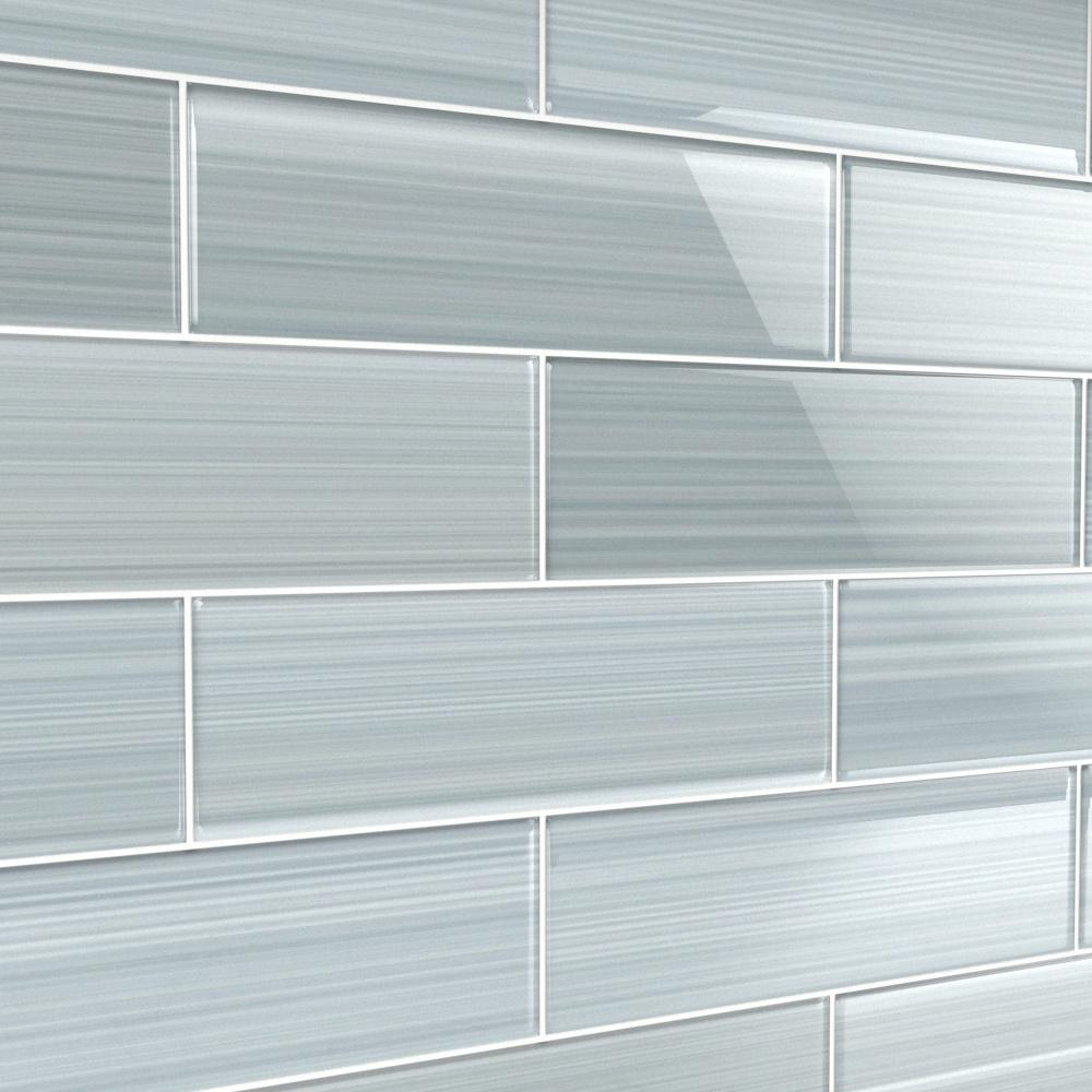 - Bodesi Heron Gray 4 In. X 12 In. Glass Tile For Kitchen Backsplash