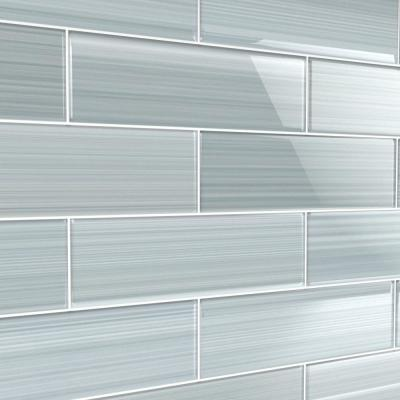 Heron Gray 4 in. x 12 in. Glass Tile for Kitchen Backsplash and Showers (10 sq. ft./per Box)