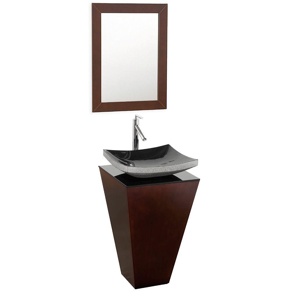 Esprit 20 in. Vanity in Espresso with Glass Vanity Top in Black and Mirror