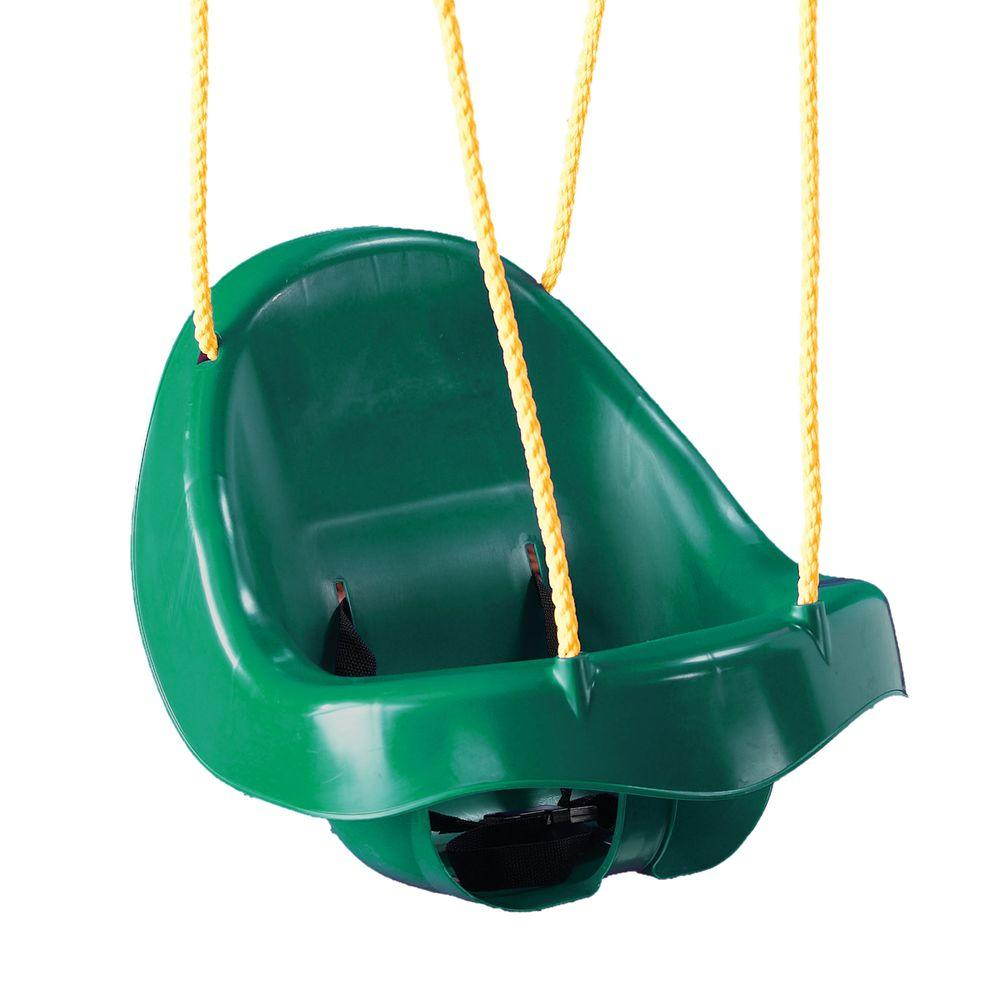 Child Swing Playset Forest Green Bucket High Back Baby Seat Outdoor Toy Plastic