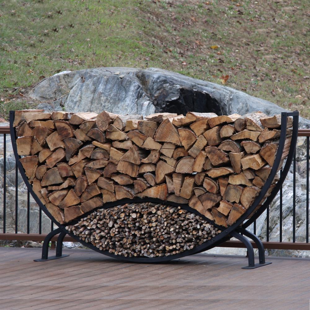 ShelterIT 8 ft. Firewood Log Rack with Kindling Wood Holder - Rounded