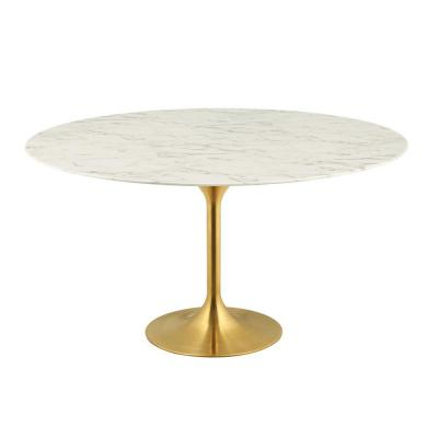 60 in. Lippa in Gold White Round Artificial Marble Dining Table