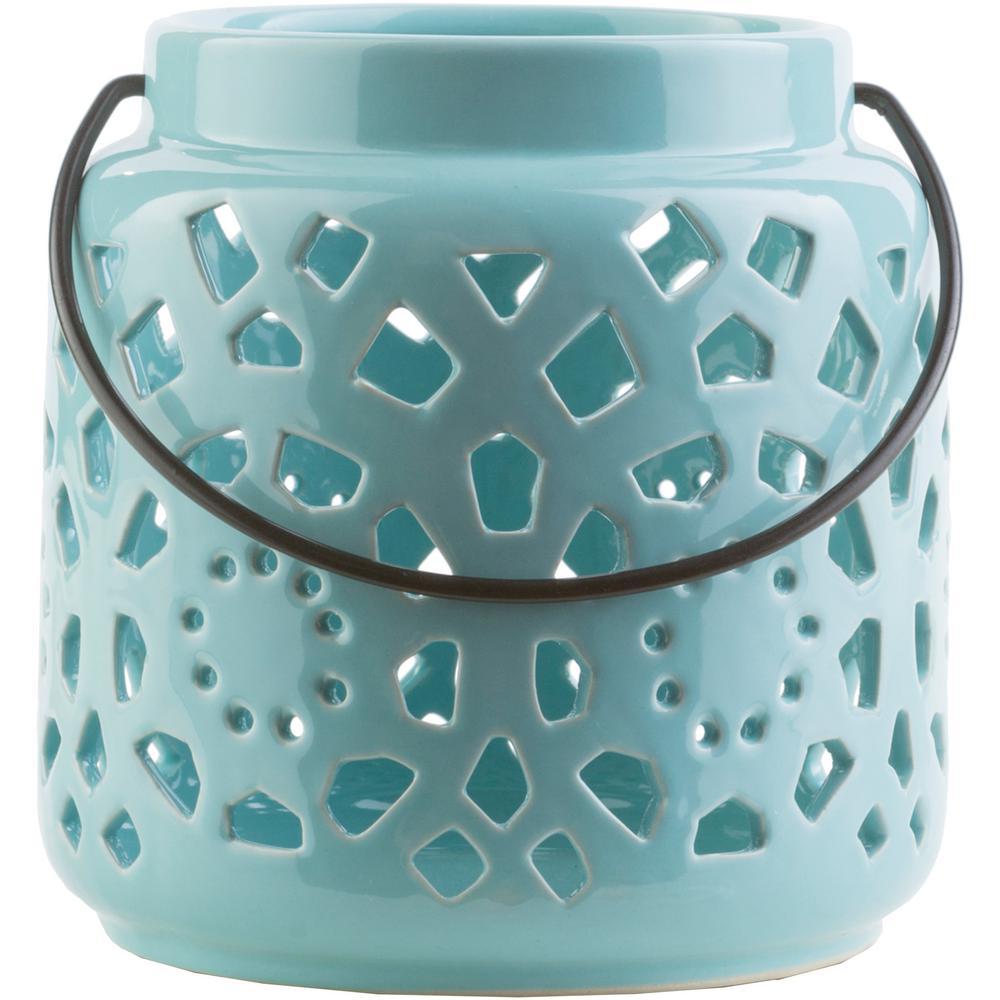 Kimba 6.5 in. Aqua Ceramic Lantern
