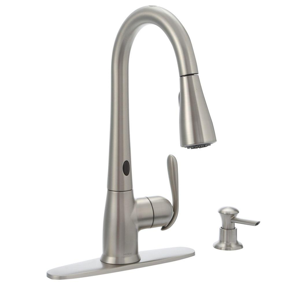 MOEN Haysfield Single Handle Pulldown Sprayer Touchless Kitchen Faucet  W/MotionSense And Power Clean In Spot Resist Stainless 87350ESRS   The Home  Depot