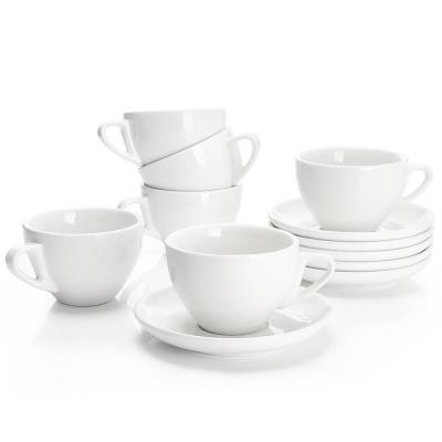 Cappuccino Cups with Saucers - 6 Ounce - White, Set of 6