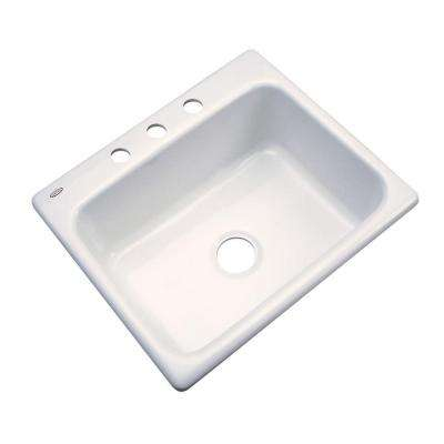 Inverness Drop-In Acrylic 25 in. 3-Hole Single Bowl Kitchen Sink in Biscuit