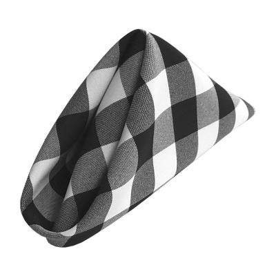 18 in. x 18 in. White and Black Gingham Checkered Napkins (Pack of 10)