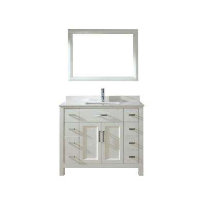 Kelly 42 in. Vanity in White with Solid Surface Marble Vanity Top in White and Mirror