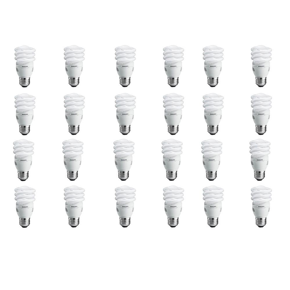 Philips 60-Watt Equivalent T2 Spiral CFL Light Bulb Soft White (24-Pack)