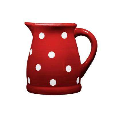 22 oz. Red and White Dots Ceramic Pitcher