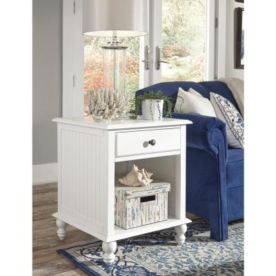 Cottage Beach White 1-Drawer End Table