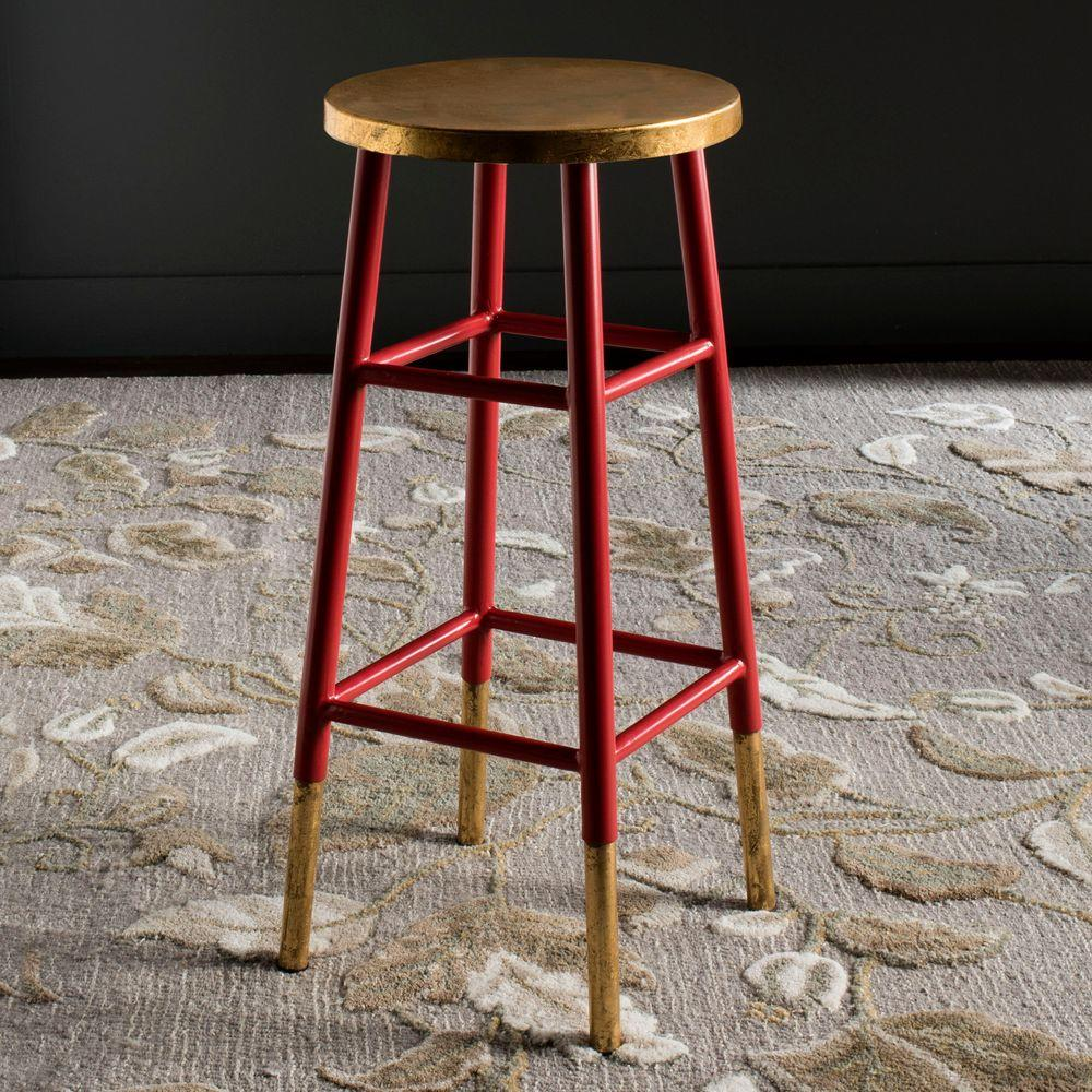 Safavieh Emery 30 In Red And Gold Bar Stool