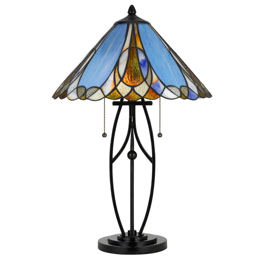 Cal Lighting 24 In Metal Table Lamp With Tiffany Glass