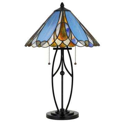 24 in. Metal Table Lamp with Tiffany Glass Shade in Bark Bronze Finish