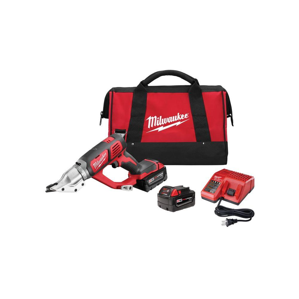 Milwaukee M18 18 Volt Lithium Ion Cordless 18 Gauge Double Cut Metal Shear Kit W 2 3 0ah Batteries Charger Tool Bag 2635 22 The Home Depot