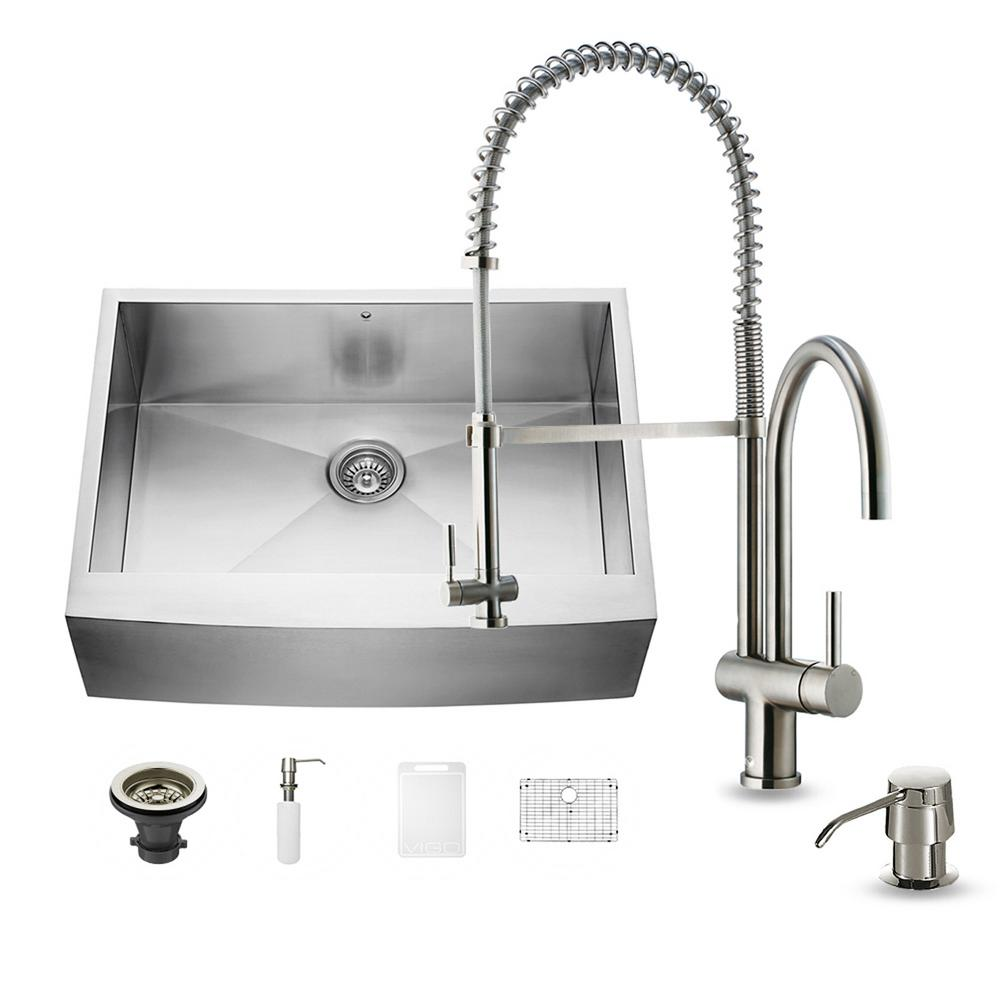 VIGO All-in-One Farmhouse Apron Front Stainless Steel 30 in. 0-Hole Single Basin Kitchen Sink with Faucet Set
