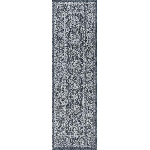 Tayse Rugs Veranda Charcoal 2 Ft 3 In X 10 Ft Outdoor Runner Vnd2318 2x10 The Home Depot