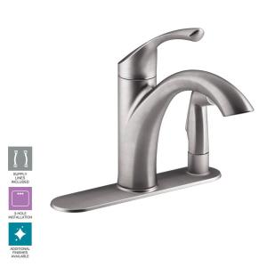 Kohler Mistos Single Handle Pull Out Sprayer Kitchen Faucet In