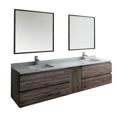 Formosa 84 in. Modern Double Wall Hung Vanity in Warm Gray with Quartz Stone Vanity Top in White w/ White Basins, Mirror