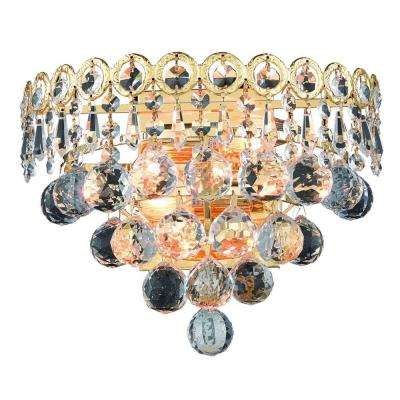2-Light Gold Wall Sconce with Clear Crystal
