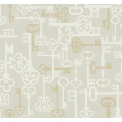 Vintage Key Metallic Ivory and Gold Traditional Wallpaper
