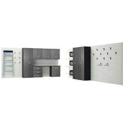 Modular Wall Mounted Garage Cabinet Storage Set with Workstation/Accessories in White/Graphite Carbon Fiber (9-Piece)
