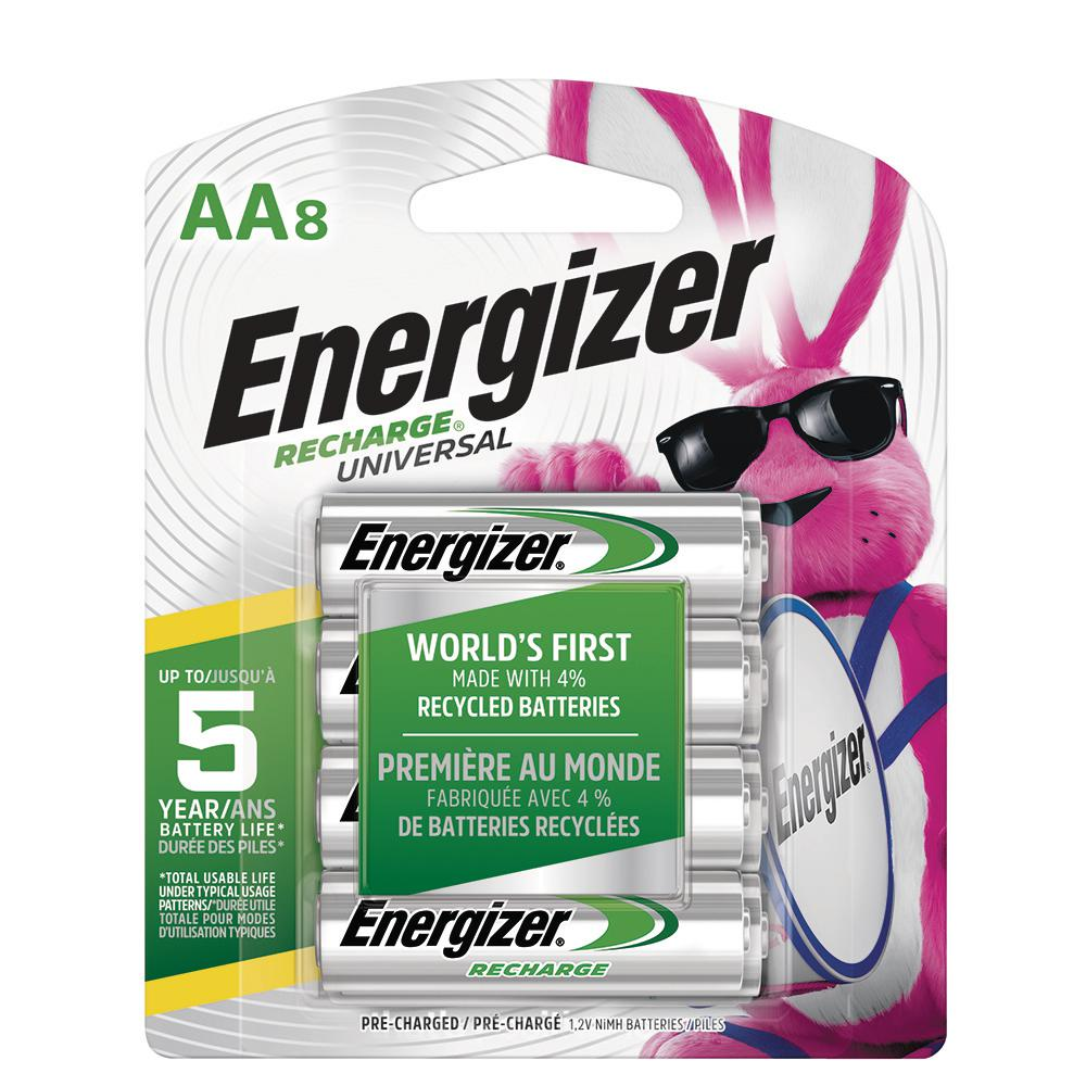Energizer Energizer Rechargeable AA Batteries, NiHM, 2000 mAh, Pre-Charged, 8-Count (Recharge Universal)