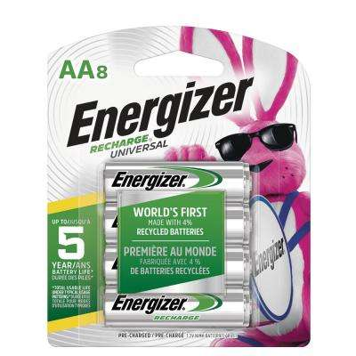 Energizer Rechargeable AA Batteries, NiHM, 2000 mAh, Pre-Charged, 8-Count (Recharge Universal)