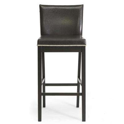 Graymoor Traditional Dark Brown Faux Leather Upholstered 2 Piece Bar Stool  Set