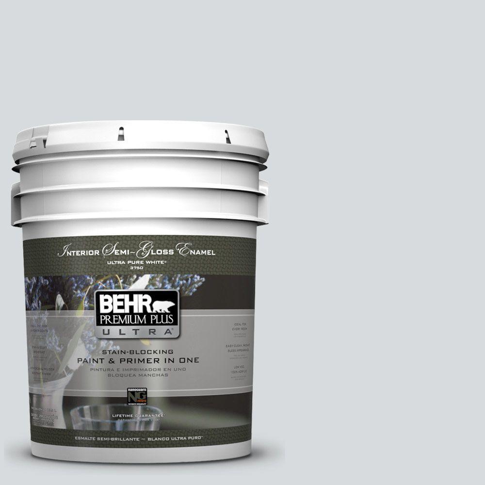 BEHR Premium Plus Ultra 5-gal. #PPL-65 Silver Charm Semi-Gloss Enamel Interior Paint