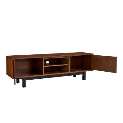 Hanna 63 in. Dark Tobacco and Black Engineered Wood TV Stand Fits TVs Up to 61 in.