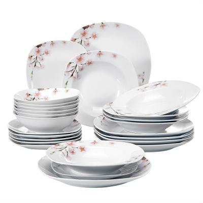 Annie 24-Piece Casual Printed White Porcelain Dinnerware Set (Service for 6)