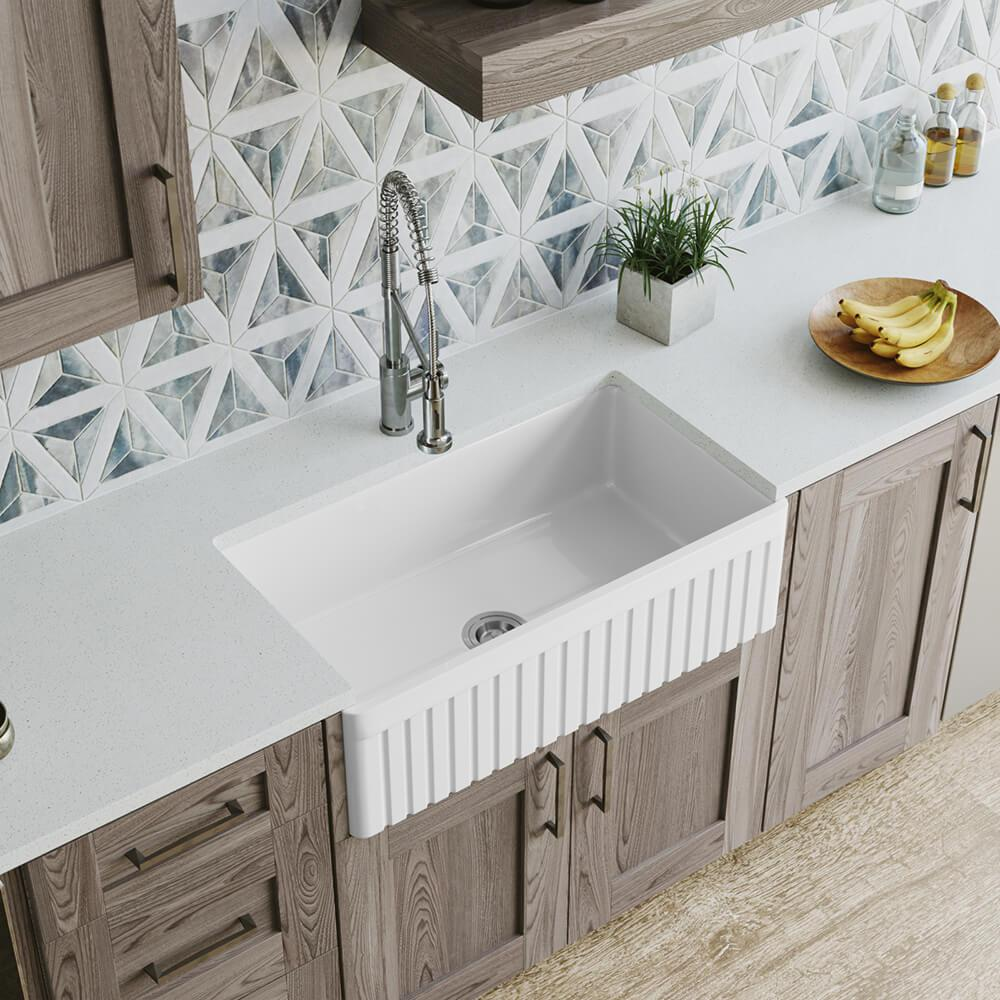 MR Direct Farmhouse Apron Front Fireclay 33 in. Single Bowl Kitchen Sink