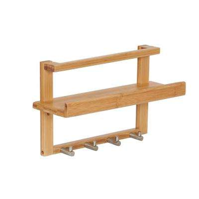 13.39 in. W x 4.53 in. D x 8.07 in. H Square Bamboo Solid Shelf with 4-Hooks