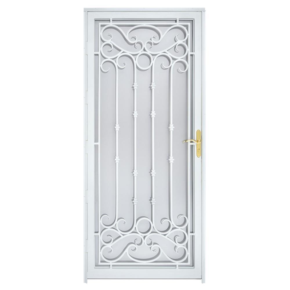 36 in. x 80 in. 368 Series Bella Wrought Iron White Prehung Security Door Recessed Mount