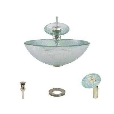 Glass Vessel Sink in Iridescent Foil Undertone with Waterfall Faucet and Pop-Up Drain in Brushed Nickel