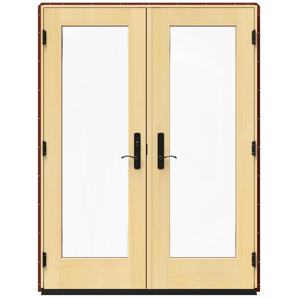 Jeld wen 60 in x 80 in w 4500 red clad wood right hand for Wood patio doors home depot
