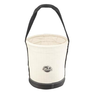 12 in. 1 Pocket Utility Tapered Ripstop Canvas Bucket with leather Bottom