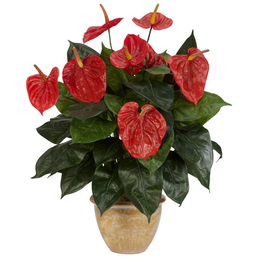 22.5 in. H Red Anthurium with Ceramic Vase Silk Plant