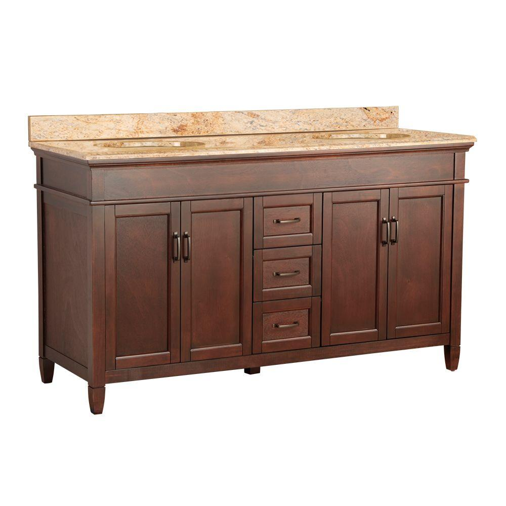 null Ashburn 61 in. W x 22 in. D Double Basin Vanity in Mahogany with Cast Polymers Vanity Top in Tuscan Sun