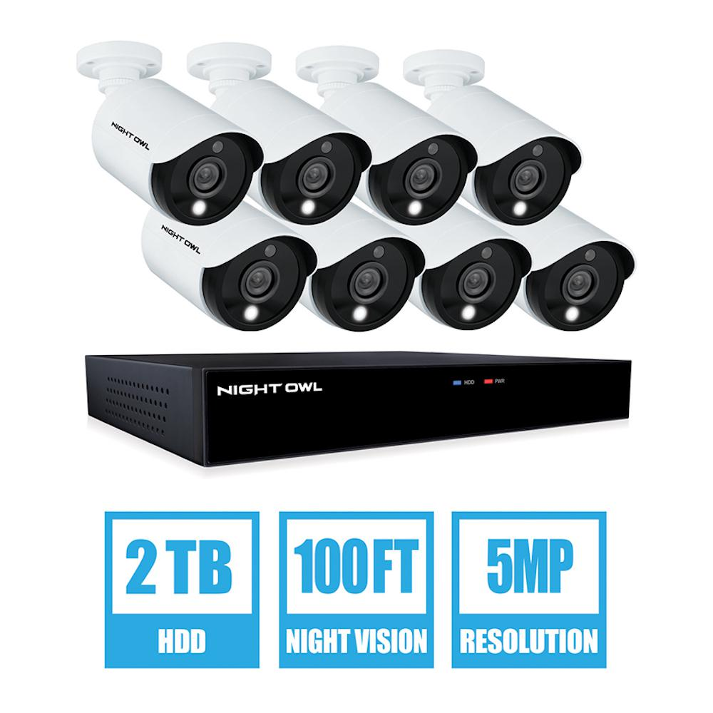 Night Owl 16-Channel 5MP 2 TB DVR Security Surveillance System with 8 Wired Spotlight Cameras