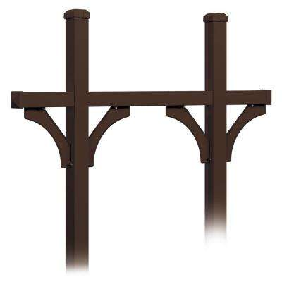 Deluxe In-Ground Mounted Bridge Style Post for 5 Mailboxes, Bronze