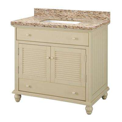 Cottage 37 in. W x 22 in. D Vanity in Antique White with Granite Vanity Top in Giallo Ornamental with White Basin