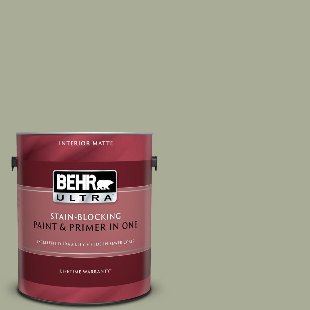 BEHR ULTRA 1 gal. #S380-4 Bay Water Matte Interior Paint and Primer in One
