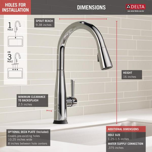 Delta Essa Touch2o Technology Single Handle Pull Down Sprayer Kitchen Faucet With Magnatite Docking In Chrome 9113t Dst The Home Depot