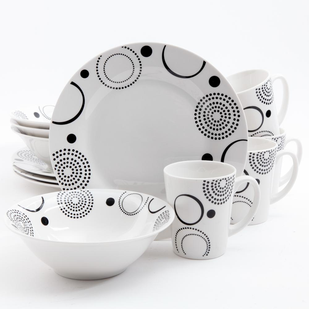 Modern Times 12-Piece Black Geometric Design on White Decorated Dinnerware Set