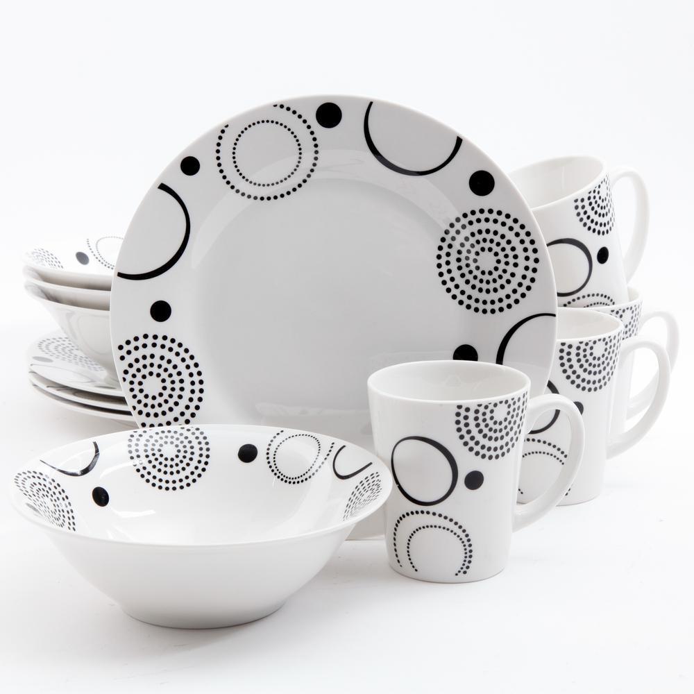 Modern Times 12-Piece Black Geometric Design on White Decorated Dinnerware Set