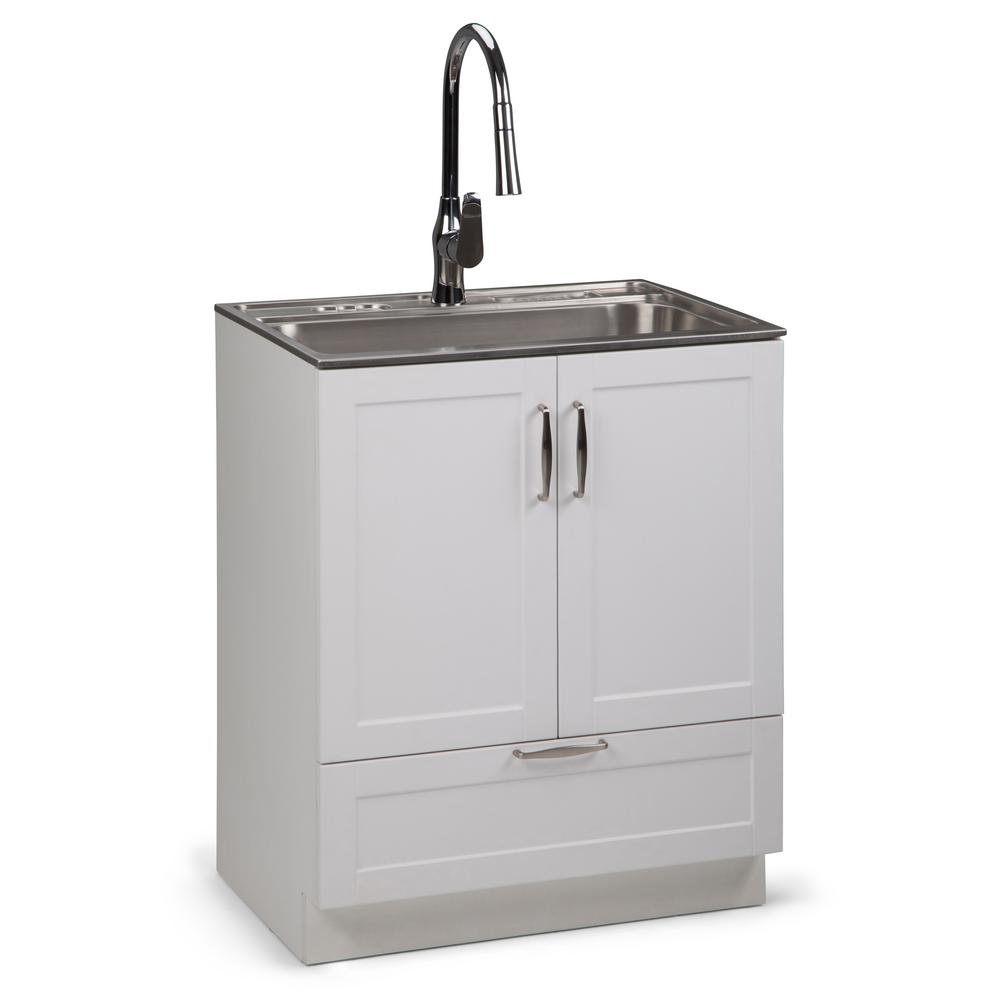 H Laundry Cabinet With Pull Out Faucet And Stainless Steel Utility Sink